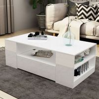 Modern Coffee Table 2 Drawers Cabinet Storage Shelf High Gloss Wood Living Room Furniture - White