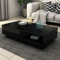 Modern Coffee Table Storage Drawer Shelf Cabinet High Gloss Wood Furniture - Black