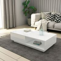 Modern Coffee Table Storage Drawer Shelf Cabinet High Gloss Wood Furniture - White