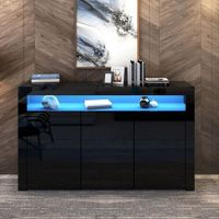 Modern 3 Doors Buffet Sideboard Dresser Storage Cabinet High Gloss Cupboard - Black