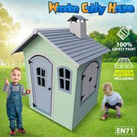 Kids Cubby House Wooden Outdoor Playhouse Cottage Children Play Toy