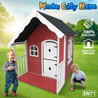 Kids Outdoor Cubby House Wooden Playhouse Cottage Verandah Children Play Toy