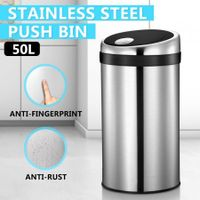 50L Touch Top Garbage Rubbish Bin Stainless Steel Push Kitchen Waste Trash Can