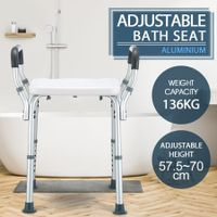 New Adjustable Shower Chair Bath Seat Heavy Duty Stool Bench W/ Padded Armrests