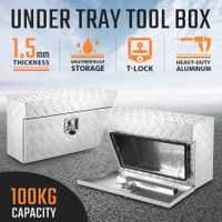 New Pair of Under Tray Tool Boxes Truck Bed Box Underbody Toolbox Organizers - Silver