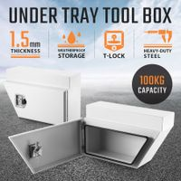 New Pair of Under Steel Tray Tool Boxes Truck Bed Box Underbody Toolbox Organizers - White