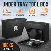 New Pair of Steel Under Tray Tool Boxes Truck Bed Box Underbody Toolbox Organizers - Black