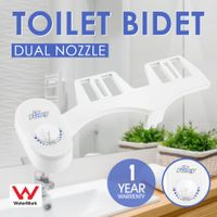 Dual Nozzle Toilet Bidet Seat Sprayer Attachment Hygiene Water Wash Clean Unisex Kit