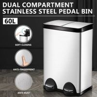 60L Dual Compartment Pedal Garbage Rubbish Bin Stainless Steel Kitchen Waste Trash Can