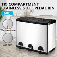 60L Pedal Garbage Rubbish Bin 3-Compartment Stainless Steel Kitchen Waste Trash Can w/Flip-Top Lids