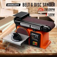 "SHOGUN 500W Belt Disc Sander Power Tool Linisher Machine Grinder Bench Sanding 4x36"" Belt 6"" Disc"