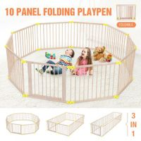 New 10 Panel Large Wooden Baby Playpen Toddler Kid Safety Yard Child Pet Barrier