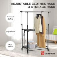 New Adjustable Clothes Rack 2 Hanging Rods Hanger Stand Metal Rail With 4 Wheels