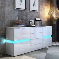 Modern Buffet Sideboard Cabinet High Gloss Storage Cupboard w/2 Doors & 4 Drawers White