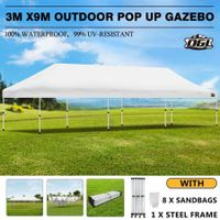 OGL 3x9m Pop Up Gazebo Outdoor Canopy Marquee Folding Party Wedding Camping Tent White