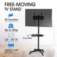 "Mobile 23""-55"" TV Screen Floor Stand Mount Adjustable LCD/LED Monitor Bracket w/Shelf"