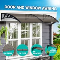 New 2M DIY Window Door Awning House Canopy Patio UV Rain Cover Sun Shade - Brown