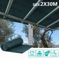 OGL 90% UV Block Sun Shade Cloth Sail Roll 2x30m Mesh Shadecloth Outdoor 175GSM Dark Green