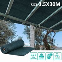 OGL 90% UV Block Sun Shade Cloth Sail Roll 3.5x30m Mesh Shadecloth Outdoor 175GSM Dark Green