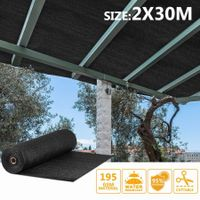 OGL Black 95% UV Block Sun Shade Cloth Sail Roll 2x30m Mesh Shadecloth Outdoor 195GSM