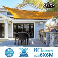OGL 6x6m Outdoor Sun Shade Sail Canopy 280GSM 98% UV Block Sand Beige Cloth Rectangle