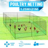 New 21m x 125cm Poultry Net Chicken Fence Netting Chooks Ducks Hens W/ 10 Posts