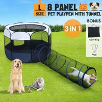 8 Panels Portable Pet Playpen Tent Puppy Dog Cat Kennel Crate Cage Enclosure 144cm w/Tunnel