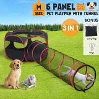 6 Panels Portable Pet Playpen Tent Puppy Dog Cat Kennel Crate Cage Enclosure 120cm w/Tunnel