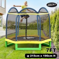 "Genki Upgrade 84"" Kids Trampoline Indoor Outdoor w/Enclosure Safety Net Spring Pad Cover"