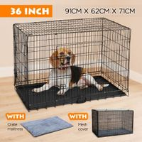 "36"" Dog Crate Kennel Foldable Collapsible Metal Pet Cat Puppy Cage"