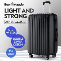 "Buonviaggio 28"" Luggage Suitcase Trolley TSA Hard Case Storage Organizer Black"