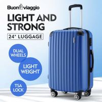 "Buonviaggio 24"" Luggage Suitcase Trolley TSA Hard Case Storage Organizer Blue"