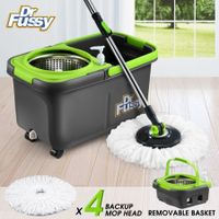 Upgraded 360 Degree Spin Mop Bucket System w/4 Mop Heads