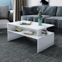 Modern Coffee Table Cabinet Storage Shelf High Gloss Wood Living Room Furniture - White