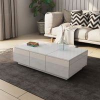 Modern 2 Drawer Coffee Table Cabinet Slide Top Storage High Gloss Wood Living Room Furniture - White