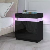 Modern Bedside Table 2 Drawers Side Nightstand Cabinet High Gloss Bedroom Furniture - Black