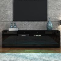 180cm TV Stand Cabinet Wood Entertainment Unit Gloss Storage Shelf w/4 Drawers & 2 Doors - Black