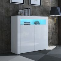 Modern 2 Door Buffet Sideboard Cabinet Storage Shelf LED High Gloss Cupboard - White