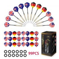 COOKJOY 12PCS Darts with 36 National Flag Flights 50 Rubber Rings 1 Plastic Box