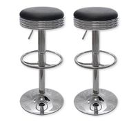 2 x PU Leather Diner Style Bar Stool Kitchen Furniture Chairs - Black - FX-1208_BKx2