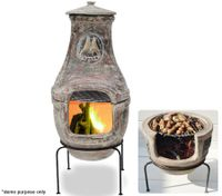 Chiminea with Grill Rack and Stand - Open Fire BBQ Outdoor Fireplace - 75cm Tall