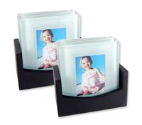 8 Glass Photo Drink Coasters with Wooden Holder
