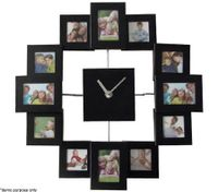 Photo Frame Wall Clock - Black