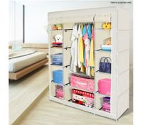 Beige 5-Level Non-Woven Cloth Storage Wardrobe