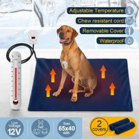 Petscene Pet Heating Pad 65x40cm Dog Cat Waterproof Electric Heated Mat Blanket Bed w/Cover - Blue
