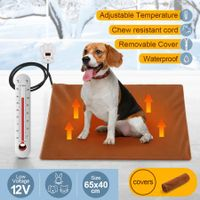 Petscene Pet Heating Pad 65x40cm Dog Cat Waterproof Electric Heated Mat Blanket Bed w/Cover - Brown