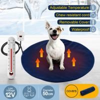 Petscene Pet Heating Pad Dog Cat Waterproof Electric Heated Mat Round Blanket Bed w/Cover