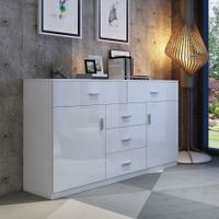 Buffet Table Sideboard Cabinet High Gloss Storage Cupboard w/2 Doors & 5 Drawers - White