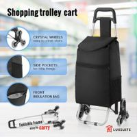 Shopping Trolley Grocery Foldable Cart with Triangle Crystal Wheel - Black