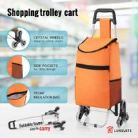 Shopping Trolley Grocery Foldable Cart with Triangle Crystal Wheel - Orange